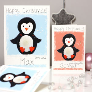 Personalised Arctic Penguin Christmas Card