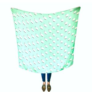 Muslin Swaddle Blanket Super Cute And Soft Green Sheep