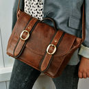 Two Tone Brown Leather 'Cleo' Handbag