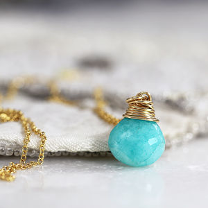 Amazonite Teardrop Gemstone Necklace