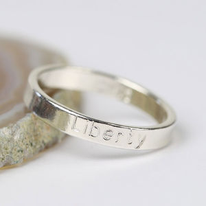Personalised Engraved Sterling Silver Name Ring - rings