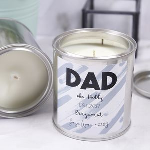 Personalised Paint Pot Scented Candle For Dad - candles