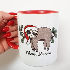 Merry Slothmas Red And White Christmas Mug
