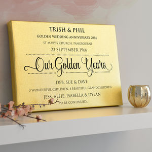 Personalised Golden Anniversary Gold Metallic Canvas - whatsnew