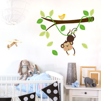 Monkey Hanging On A Branch Kids Vinyl Wall Sticker