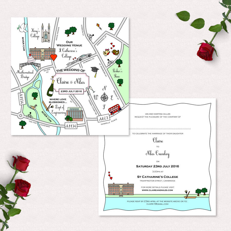 wedding or party illustrated map invitation by cute maps ...