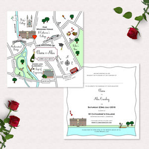 Wedding Or Party Illustrated Map Invitation - party invitations