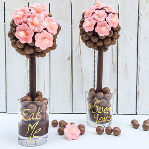 Personalised Chocolate Malteser Pink Daisy Tree - food gifts