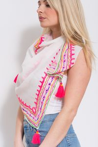 Embroidered Scarf White / Multi - womens