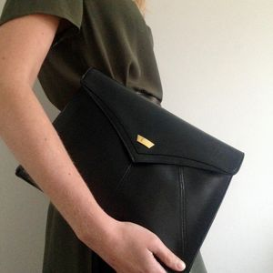 Edie Classic Leather Clutch Bag