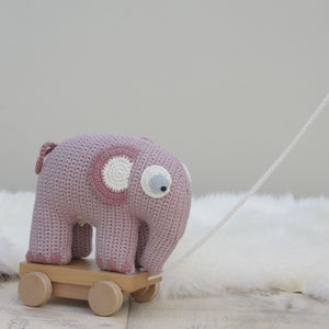 Pull Along Vintage Crochet Elephant - toys & games