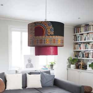 'Yaw' African Pattern Lampshade - living room