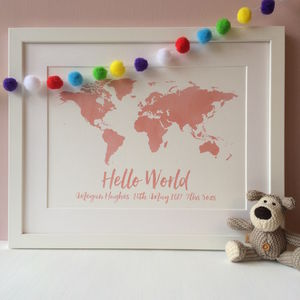 Personalised New Baby World Map