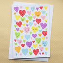Rainbow Of Love Hearts Screenprinted Card