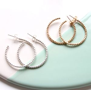 Large Beaded Hoops - earrings