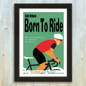 Personalised Born To Ride Cycling Print