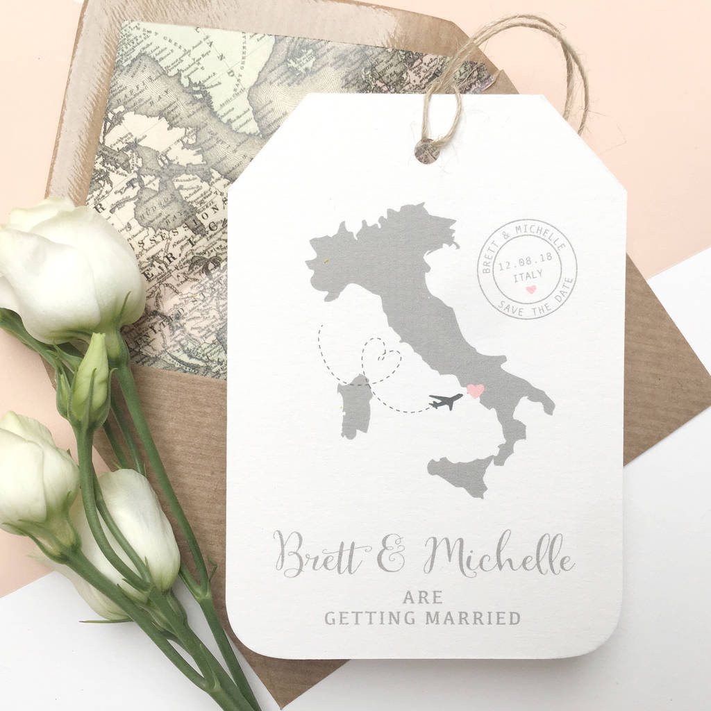 Wedding Abroad Invitation Wording Ideas: Location Wedding Abroad Save The Date Luggage Tag By Ditsy