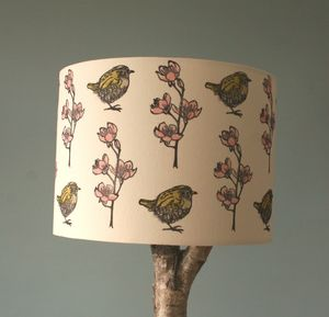 Hand Printed Bird And Floral Print Linen Lampshade