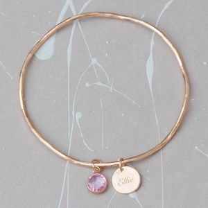 Personalised Initial Disc And Birthstone Bangle