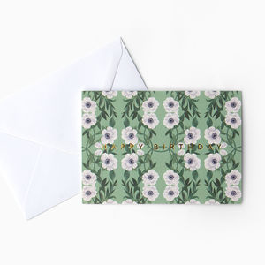 Floral Pattern 'Happy Birthday' Card
