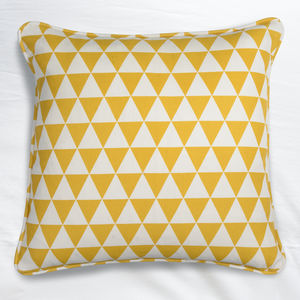 Geometric Yellow Triangle Cushion - bedroom