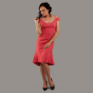 Pastel Red Cotton Dress Roksana - women's fashion