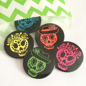 Sugar Skull Day Of The Dead Badge Set - jewellery