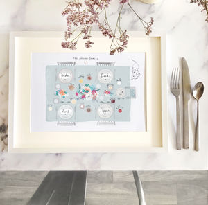 Personalised Family Dinner Table Illustration Print