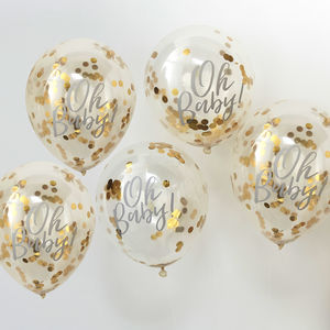 Gold Oh Baby! Baby Shower Confetti Balloons Five Pack - decoration