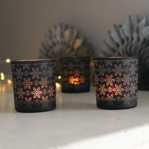 Black Snowflake Tea Light Holder - candles & home fragrance