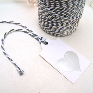 Christmas Gift Tags Silver Heart Six Pack