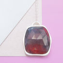 Precious Ruby Silver Birthstone Pendant Necklace