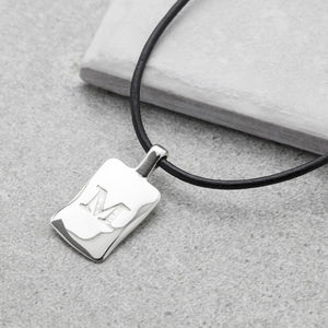 Men's Leather Initial Necklace - necklaces