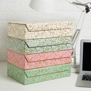 Recycled Gold Floral A4 Storage Box