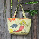 Recycled Shopper Medium Mermaid Yellow Design
