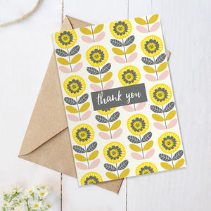 Thank You Floral Card - thank you cards