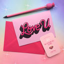 Love U Valentines Day Lettering Greeting Card