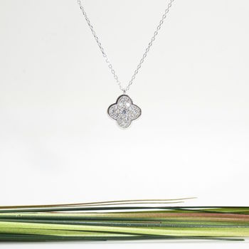 Small Clover Necklace Cz Sterling Silver Rose Gold