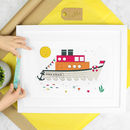 Personalised Nursery Art Print Nautical Hms Ship