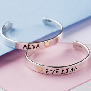 Personalised Sterling Silver Baby Cuff Bangle - christening gifts