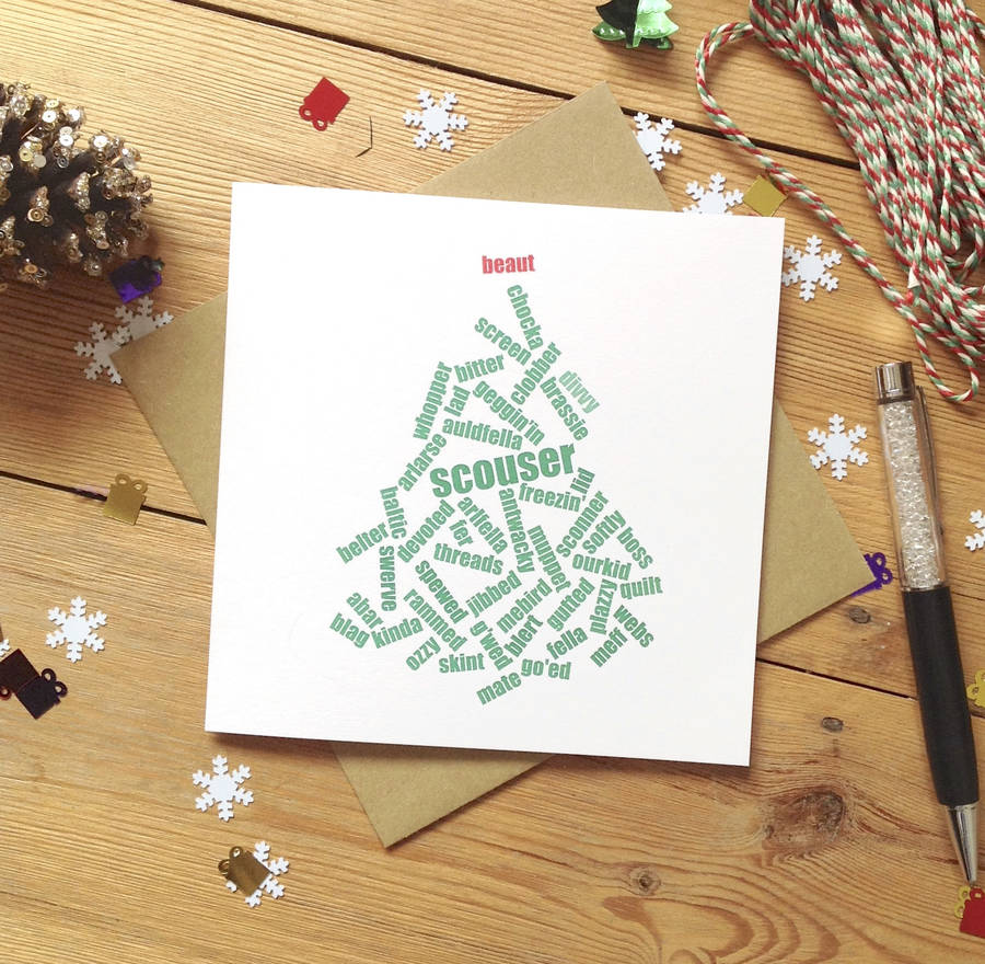 personalised liverpool beaut scouse christmas card by hedge and