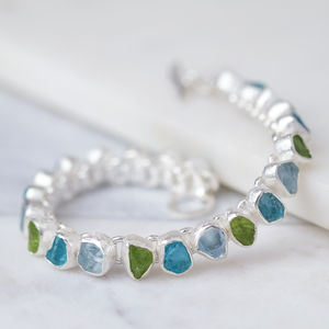 Rough Peridot, Aqua And Apatite Gemstone Bracelet