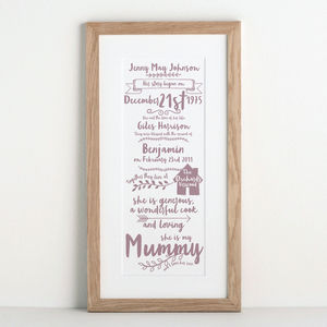 Story Of My Mum Print - posters & prints