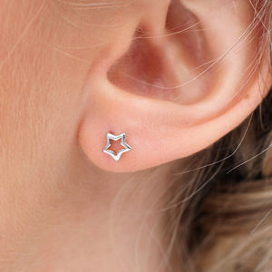 Sterling Silver Mini Star Earrings - earrings