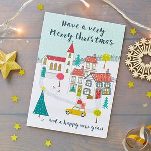 Church And Houses Christmas Card Pack - christmas cards