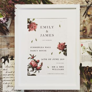 Botanical Rose Wedding Or Anniversary Print
