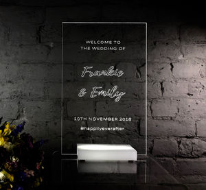 Hand Engraved L.E.D Wedding Sign With Lighted Base
