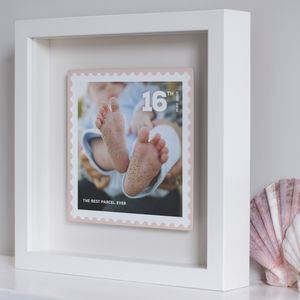 Personalised Floating Metal Postage Stamp Photo