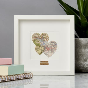 Personalised Multi Heart Map Picture - canvas prints & art for children