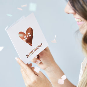 Metallic Personalised Heart Card - summer sale